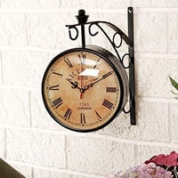 Wall Hanging Vintage Style Station Clock Double Sided Size(LxBxH-10x8.5x12)