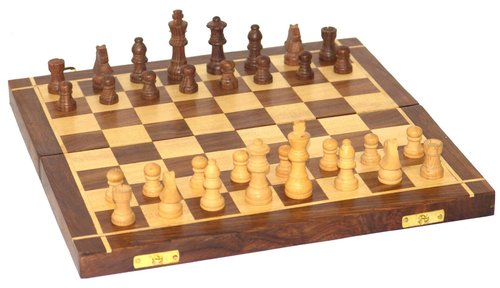 Wooden Handmade Standard Classic Chess Board Game Foldable(Non-Magnetic)
