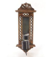 Beautiful Hand Carved Wooden Wall Hanging Miror Reflection Candle Holder