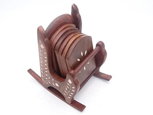 Beautiful Miniature Rocking Chair Design Wooden Tea Coffee Coaster Set
