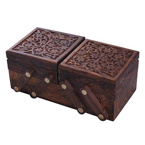 Decorative Handmade Sliding Wooden Jewellery/Jewelry/Storage Box with Carving {Cai-Hd-0203/Size(Inch) : 3X8X4}