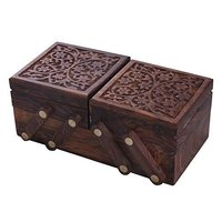 Decorative Handmade Sliding Wooden Jewellery/Jewelry/Storage Box with Carving {Cai-Hd-0203/Size(Inch) : 3X8X4}