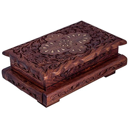 Decorative Handmade Wooden Jewellery/Jewelry/Storage Box with Carving {Cai-Hd-0191/Size(Inch) : 3X8X5}