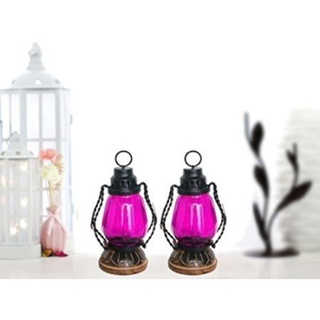 Pink Wooden, Glass Lantern Size(Lxbxh-4.5X4.5X8.5) Inch Pack of 2