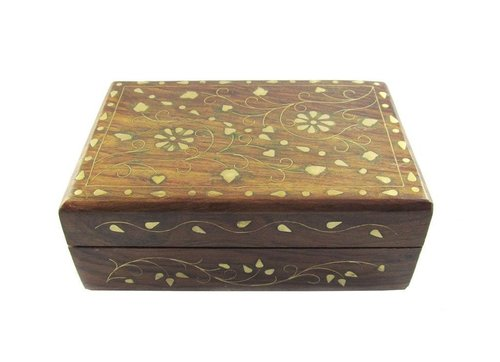 Beautiful Wooden Small Jwellery Box with Brass Inlay Work Gift Item
