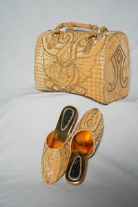golden with colourful Embellishments shoes & bag