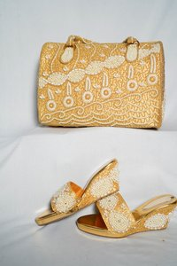 Golden & White Shoes & Bag