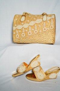 Golden & white  shoes & bag