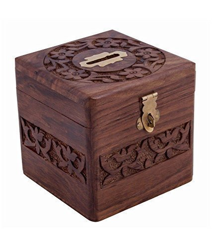 Coins Storage Box, Money Bank with Carving Work and Lock. Piggy Bank for Kids, Gift for Christmas Or Birthday