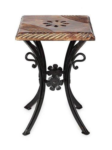 Handmade Wooden & Wrought Iron Stool/Chair (Black, 10 X 10 X 12 Inch)