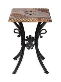Handmade Wooden & Wrought Iron Stool/Chair (Black, 10 X 10 X 12 Inch)