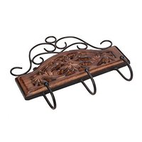 Wooden & Iron Fancy Design Wall Hanging Cloth Hanger with 3 Hooks Size(Lxbxh-11X1X10) Inch