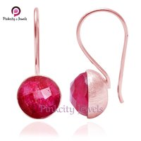 Faceted Ruby Gemstone 925 Silver Earring
