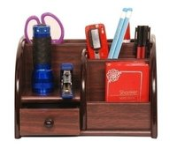 Polished Multi-Functional Wooden Pen Stand with Drawer