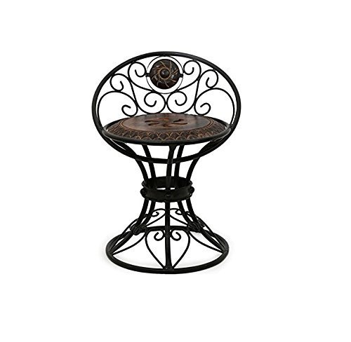 Beautiful Design Handicrafted Wooden and Wrought Iron Chair (Brown, Lxbxh-16X13X18.5-inch)