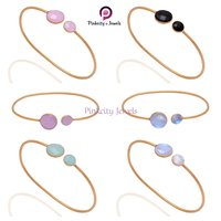 Hot Blue Chalcedony Faceted  925 Silver Bangles