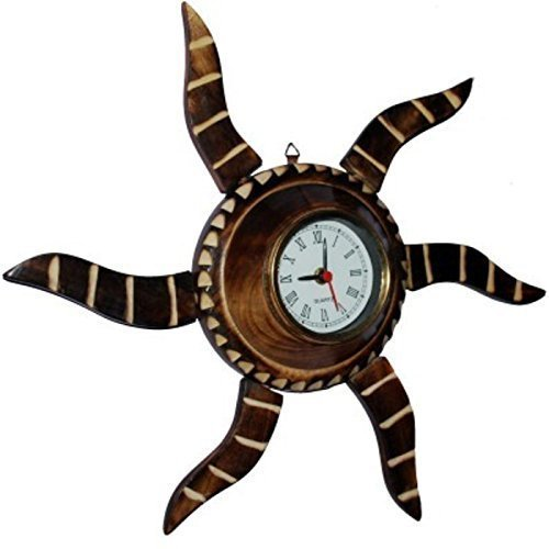 Wooden Antique Rising Sun Analog Wall Clock