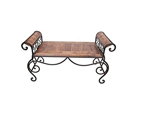 Wood & Wrought Iron Cum End/Coffee Table Size (Lxbxh-28X14X14) Inch