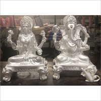 Silver Ganesh Laxmi Silver Statue