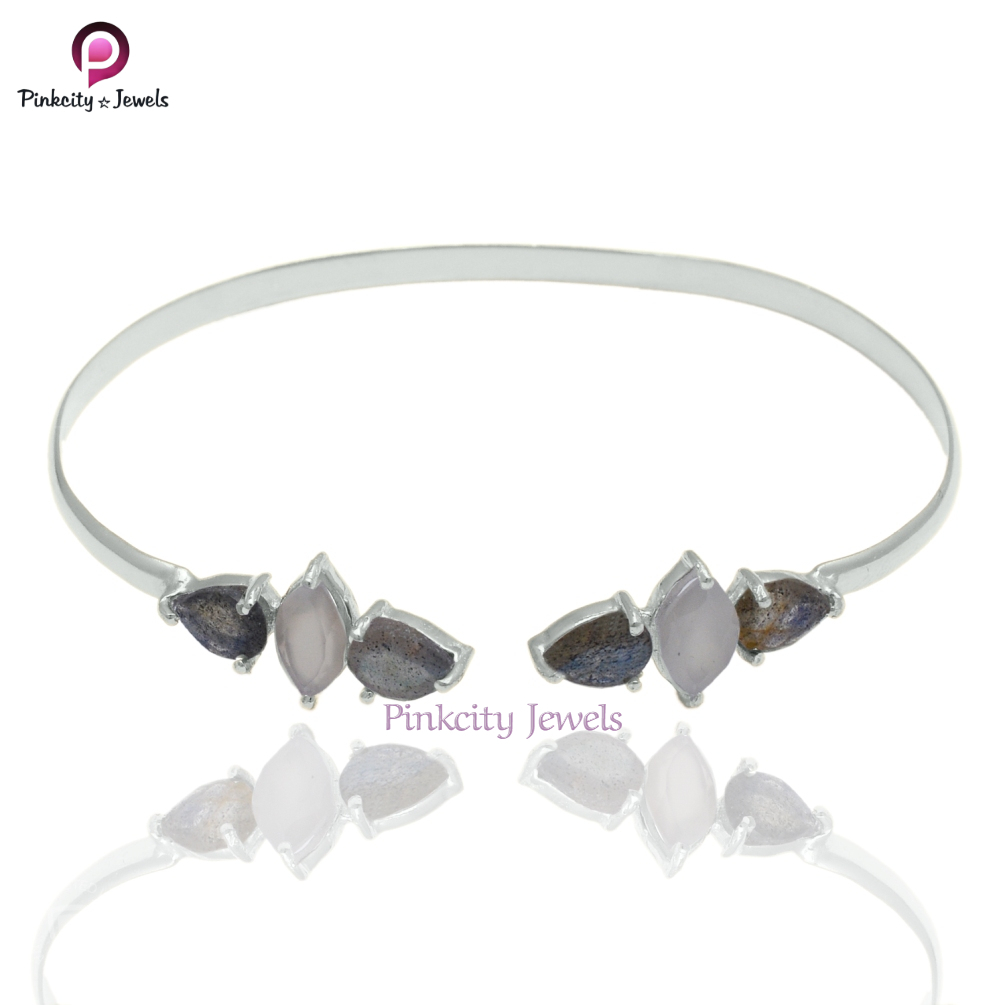 Natural Labradorite/Moonstone 925 Silver Bangles