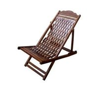 Wooden Folding Easy Chair (Brown, Standard)