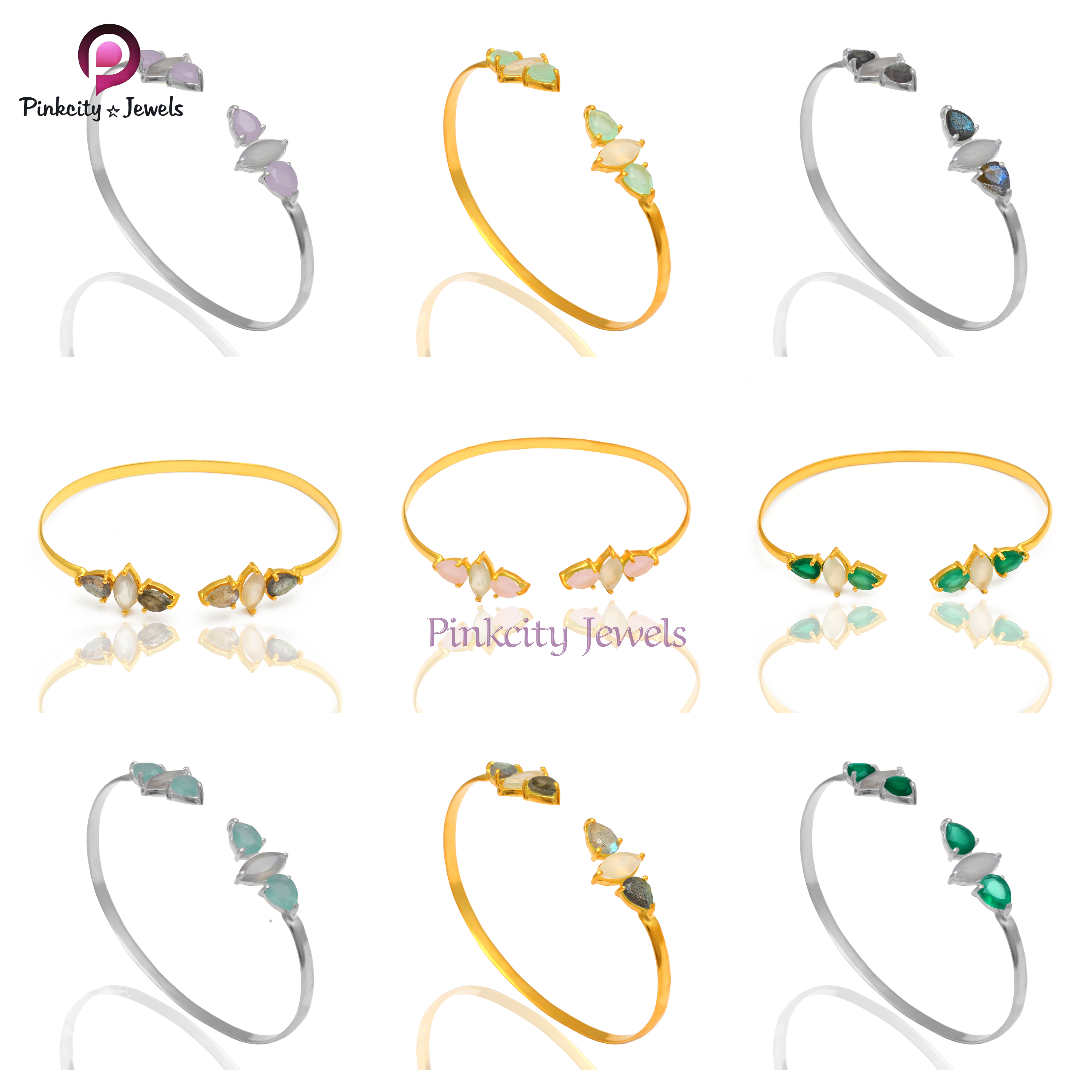 Green Onyx and Moonstone 925 Silver Bangles