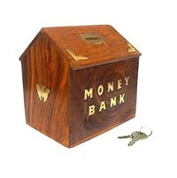 Wooden Indian Hut Shaped Piggy Bank/Money Bank (6X5.5X4)