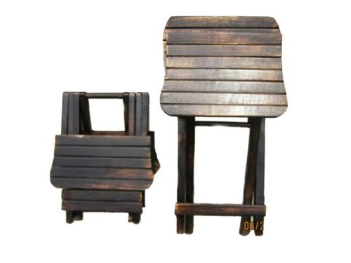 Shoppee Antique Wooden Folding Study and Coffee Table with Chair for Kids (Standard Size, Brown)