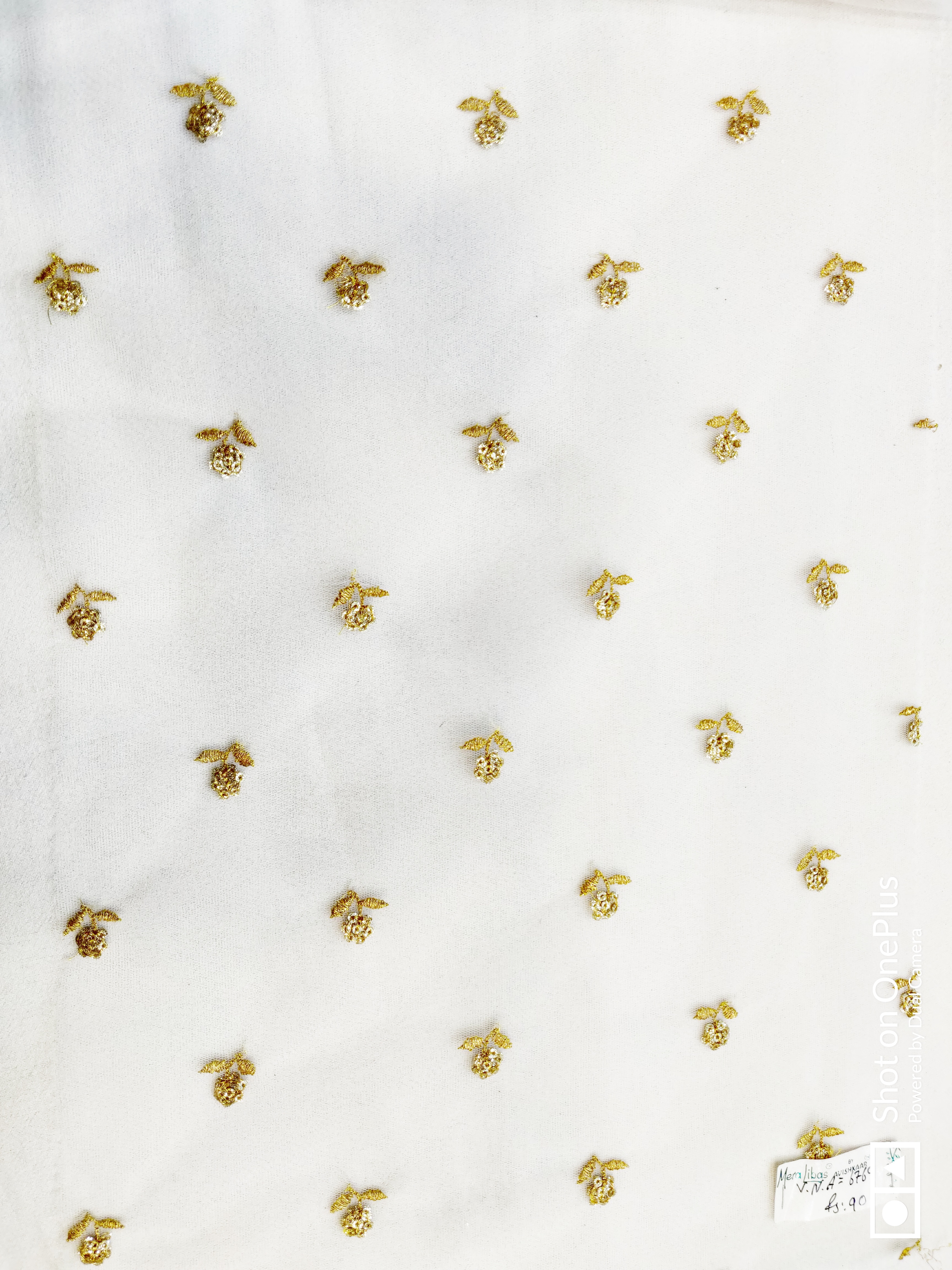 Dyeable viscose butti embroidery