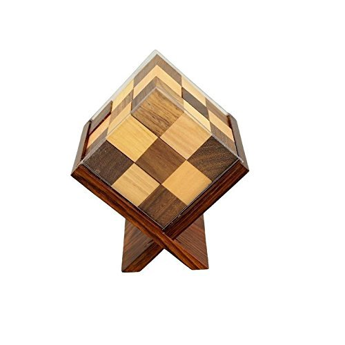 Handmade Wooden Game Soma Cube in Stand