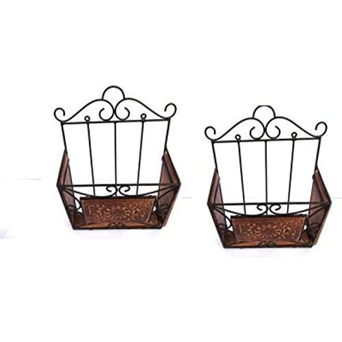 Wooden & Iron Magazine Holder/Rack Shelf with Hand Carving Work Set of 2 (Size - Lxbxh - 11X4X15 Inches)