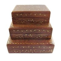 Wooden Handcrafted Decorative Jewellery Storage Box with Brass Work Size(Lxbxh-8X5X2.5) Inch Set of 3