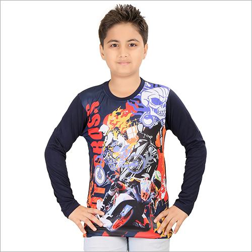 Boys Black Round Neck T-Shirt