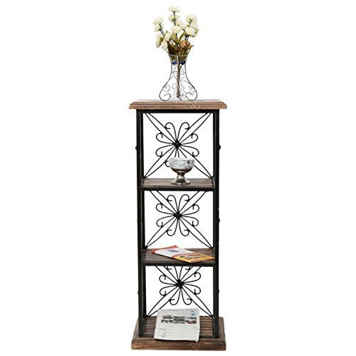 Wooden and Wrought Iron Book Shelf End Table for Library, Office, Home Gift Item (LxBxH- 11.5x9.5x31) Inch