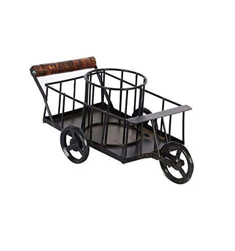 Wooden and Iron Trolley with A Cage Home Décor