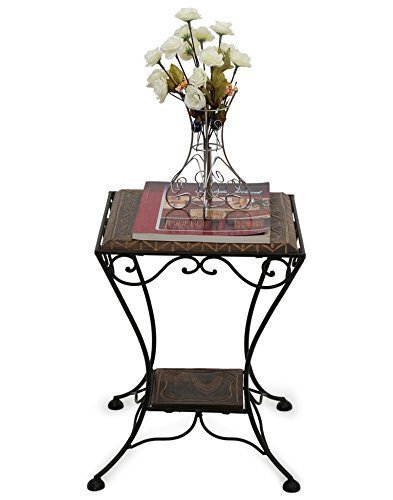 Wooden & Wrought Iron Stool/Chair (Black, 13 X 13 X 16 Inch)