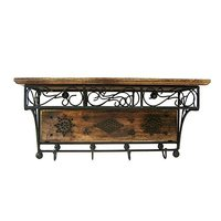 Shoppee Beautiful Wood and Wrought Iron Fancy Handicrafts Wall Shelf (Standard Size, Brown)