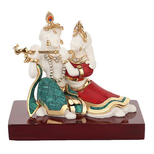 Crafted Resin Krishna Radha Idols With Topaz Stone