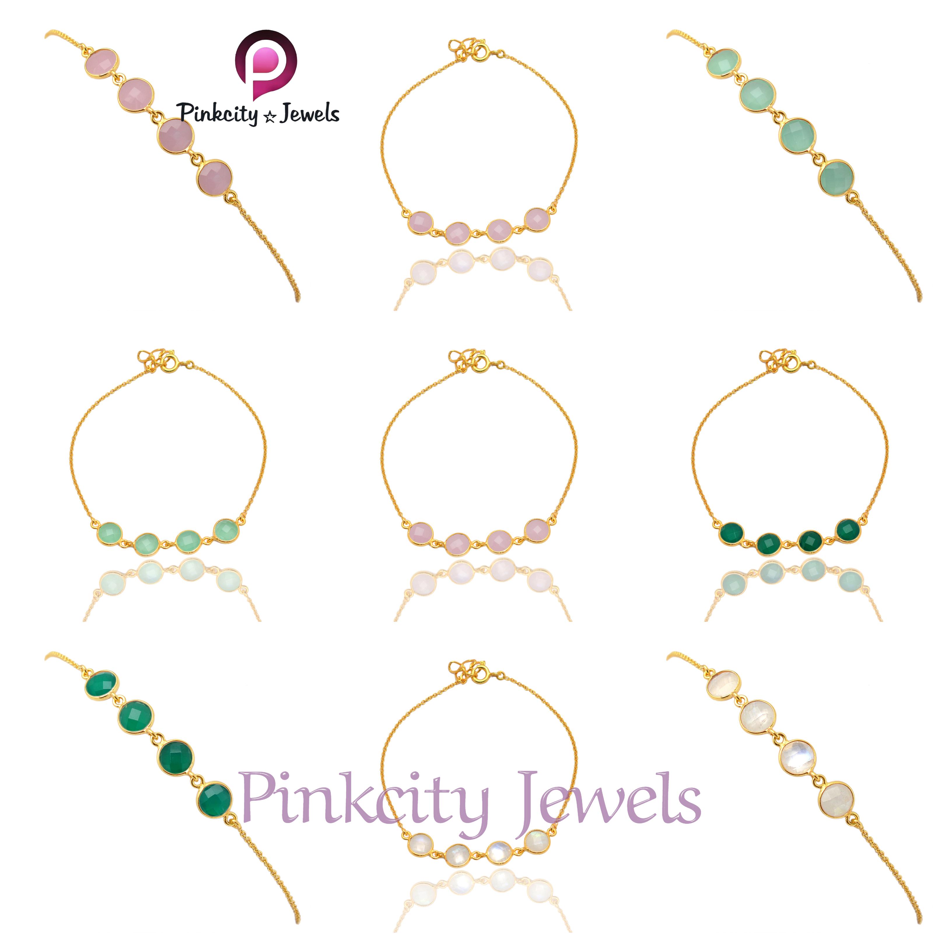 Natural Green Onyx 925 Silver Bracelet