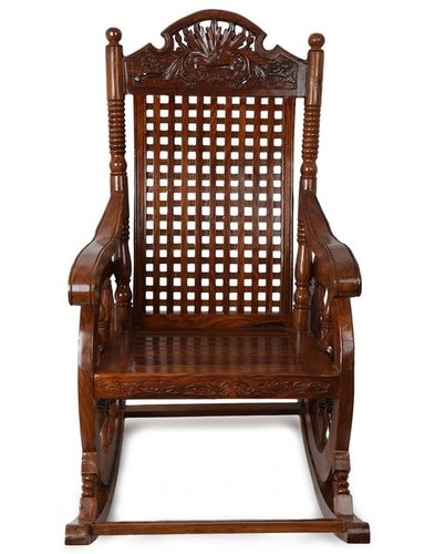 Shoppee Grandpa Wooden Hand Caved Rocking Chair (43 X 24 X 37 inch, Brown)