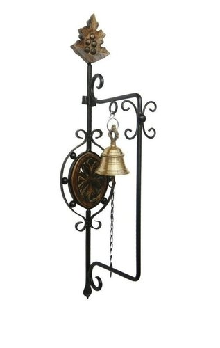 Wooden Wrought Iron Brass Hanging Door Bell Wall Mounted with Free Hexagon Pen.