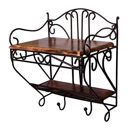 Wooden Iron Set Top Box 2 Shelves with 2 Hooks - Multi Purpose