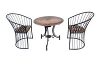 Wooden & Iron Carved,Decorative Foolding Table with 2 Chair