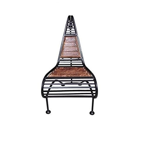 Wooden and Wrought Iron Chair Classic Design (Brown)