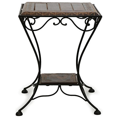 Hand Carved Wooden & Wrought Iron Stool/Chair
