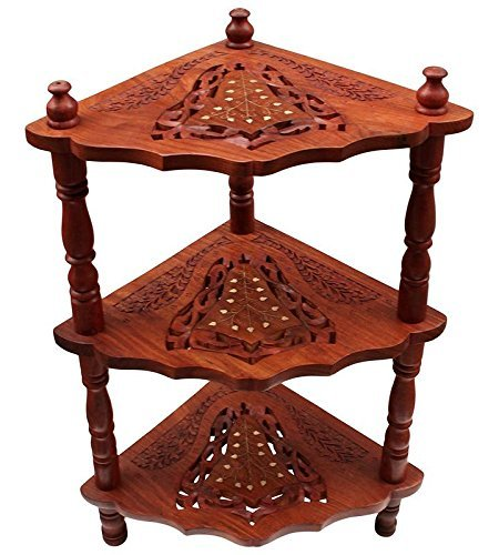 Wooden Corner Rack Side Table Home Décor Carved Furniture Shelves