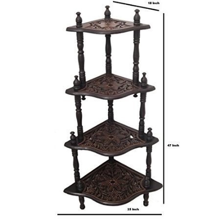 Wooden Corner Rack Side Table Home Décor Carved Furniture Shelves