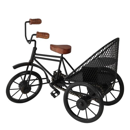 Wooden & Wrought Iron Handmade Decorative Miniature Rickshaw Gift Item