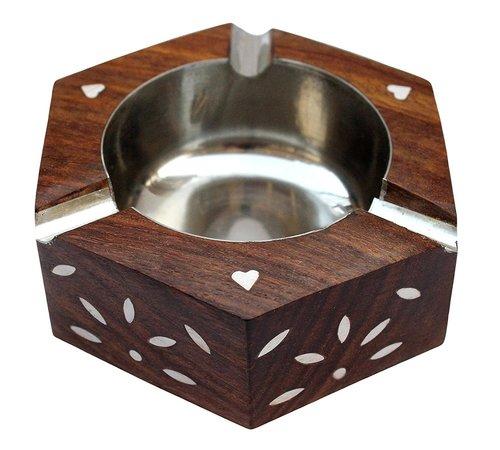 Beautiful Handicrafted Sheesham Wood Round Ash Tray