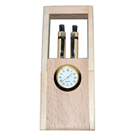 Brown Wooden Handicrafts Showpiece Pen Stand with Clock for Your Home, Office